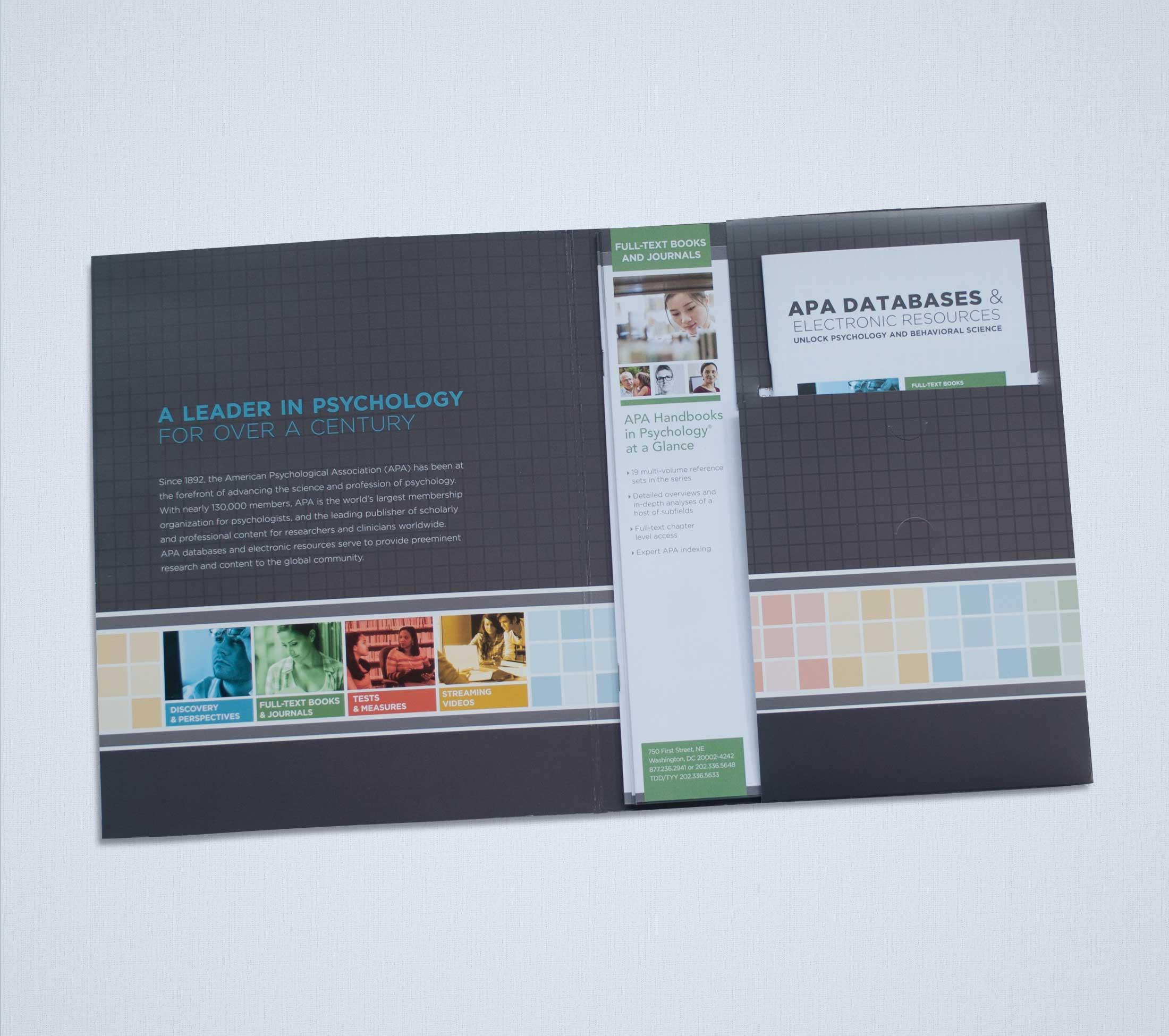 Interior of APA sales kit folder